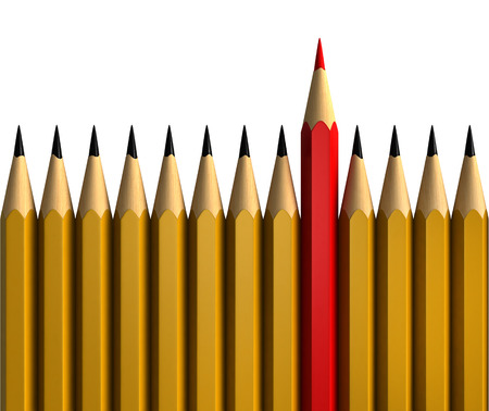 coloured: Be unique - conceptual 3d render of pencils isolated over white background