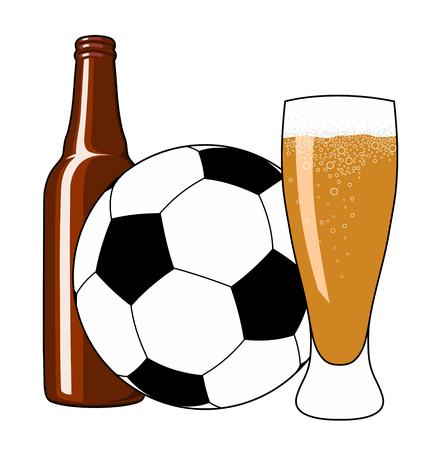 tankard: illustration of soccer ball, beer bottle and tankard