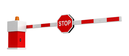 railings: 3d rendering of barrier with stop sign isolated over white background Stock Photo