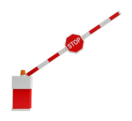 barrier: 3d rendering of barrier with stop sign isolated over white background Stock Photo