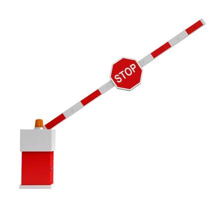 Rendering 3D di barriera con segnale di stop isolato su sfondo bianco Archivio Fotografico