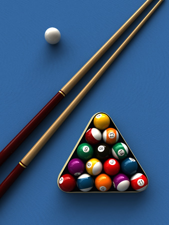 billiards tables: 3d rendering of billiard balls and stick over billiard table