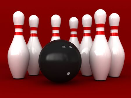pin: 3d rendering of bowling pins and ball over red background