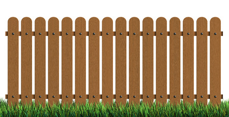 garden wall: 3d rendering of wooden fence with grass isolated over white background