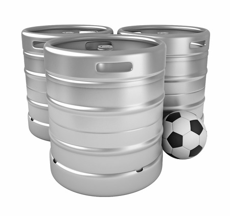 footbal: 3d rendering of beer kegs and soccer ball isolated over white background Stock Photo