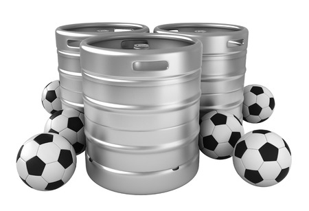 steel drum: 3d rendering of beer kegs and soccer balls isolated over white background