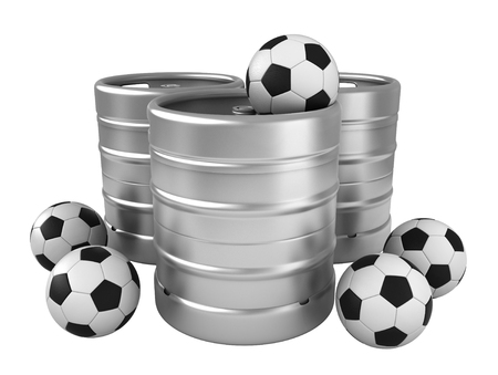 soccer balls: 3d rendering of beer kegs and soccer balls isolated over white background