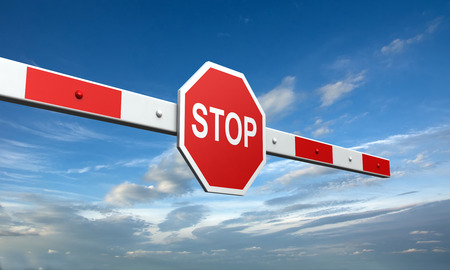 railings: 3d rendering of barrier with stop sign on sky background Stock Photo