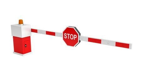 barrier gate: 3d rendering of barrier with stop sign isolated over white background Stock Photo