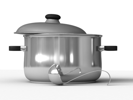 bailer: 3d rendering of saucepans and ladle on white background