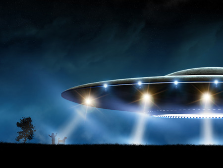 space invader: 3d rendering of flying saucer ufo on night background Stock Photo