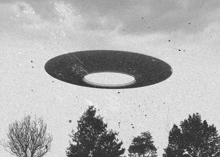 空飛ぶ円盤 ufo ビンテージ スタイルの 3 d レンダリング 写真素材