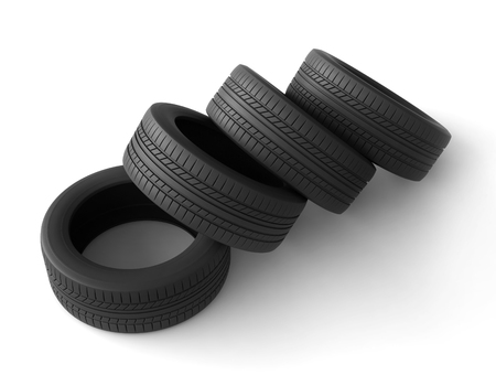the protector: 3d rendering of tires on white background Stock Photo