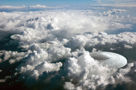 space invader: 3d rendering of flying saucer ufo in the clouds