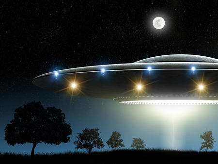 ufo: 3d rendering of flying saucer ufo on night background Stock Photo