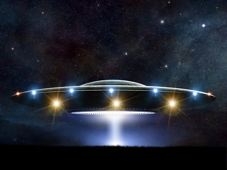 flying: 3d rendering of flying saucer ufo on night background Stock Photo