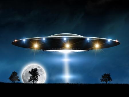 platillo volador: representación 3D de OVNI plato de fondo la noche