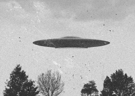 space invader: 3d rendering of flying saucer ufo vintage style Stock Photo