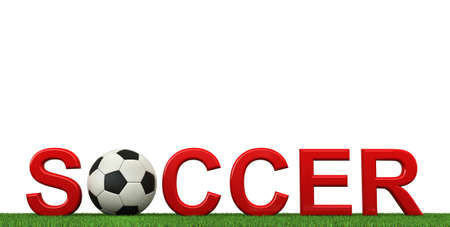3d ball: 3d rendering of soccer text with ball and grass isolated on white background