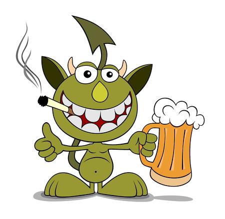 imp: illustration of funny devil cartoon style Illustration
