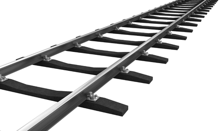rail: 3d rendering of train rail isolated over white background Stock Photo