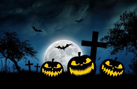 calabazas de halloween: ilustración temática de Halloween con calabazas y murciélagos Foto de archivo
