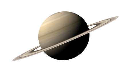 saturn: 3d rendering of the planet Saturn isolated over white background.