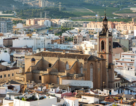 View from Sagunto town  in Eastern Spain. In foreground with St Marys Church Stock Photo
