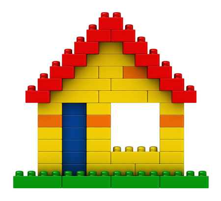 plaything: 3d render of abstract house from plastic building blocks isolated over white background Stock Photo