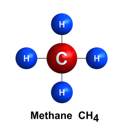 3d render of molecular structure of methane isolated over white background