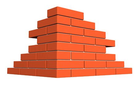 building bricks: 3d render of bricks masonry isolated over white background Stock Photo