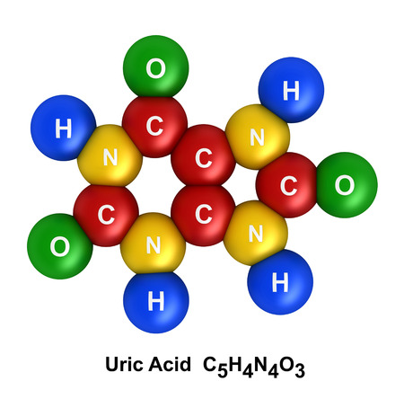 3d nitrogen: 3d render of molecular structure of uric acid isolated over white background Atoms are represented as spheres with color and chemical symbol coding: hydrogen(H) - blue, oxygen(O) - green, nitrogen(N) - yellow, carbon(C) - red. Stock Photo
