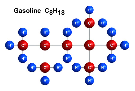 3d render of molecular structure of gasoline isolated over white background Atoms are represented as spheres with color and chemical symbol coding: hydrogen(H) - blue, carbon(C) - red Stock Photo