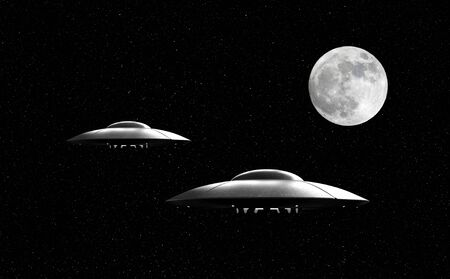 space invader: 3d render of flying saucers over stars background and moon Stock Photo