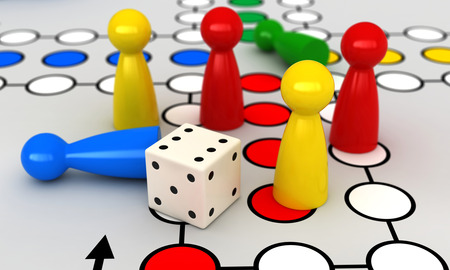 ludo: 3d render of ludo board game Stock Photo