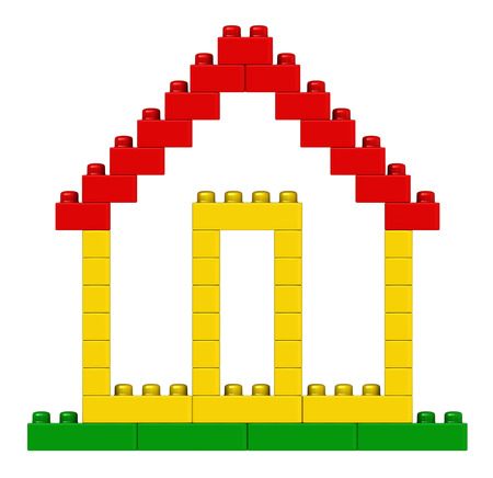 3d render of abstract house from plastic building blocks isolated over white background Stock Photo