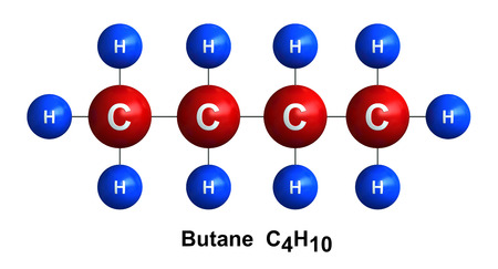 butane: 3d render of molecular structure of butane isolated over white background Atoms are represented as spheres with color and chemical symbol coding: hydrogen(H) - blue, carbon(C) - red Stock Photo