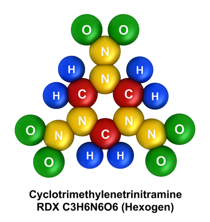 3d render of molecular structure of cyclotrimethylenetrinitramine (RDX, Hexogen) isolated over white background Atoms are represented as spheres with color and chemical symbol coding: hydrogen(H) - blue, oxygen(O) - green, nitrogen(N) - yellow, carbon(C)