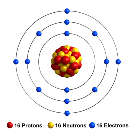sulfur: 3d render of atom structure of sulfur isolated over white background Protons are represented as red spheres, neutron as yellow spheres, electrons as blue spheres Stock Photo