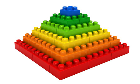 3d render of abstract pyramid from plastic building blocks isolated over white background Stock Photo