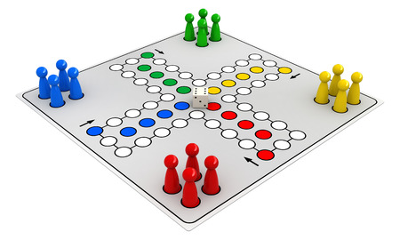 ludo: 3d render of ludo board game isolated on white background