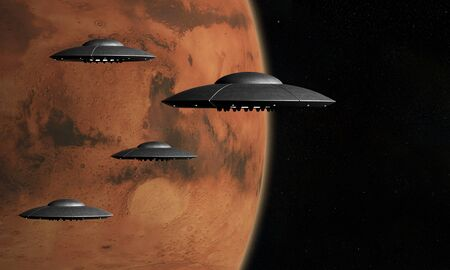 space invader: 3d render of flying saucers over stars background and Mars planet
