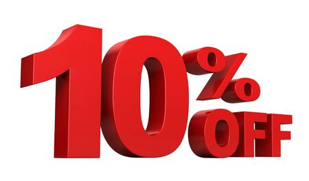 3d render of 10 percent off sale text isolated over white background Stock Photo