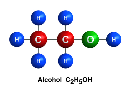 chemical compound: 3d render of molecular structure of alcohol isolated over white background Atoms are represented as spheres with color and chemical symbol coding: hydrogen(H) - blue, oxygen(O) - green, carbon(C) - red Stock Photo