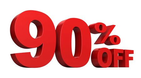 cost saving: 3d render of 90 percent off sale text isolated over white background Stock Photo