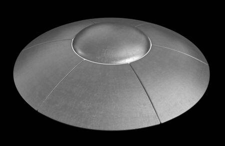 space invader: 3d render of flying saucer isolated over black background