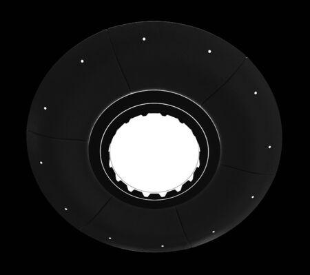 invader: 3d render of flying saucer isolated over black background