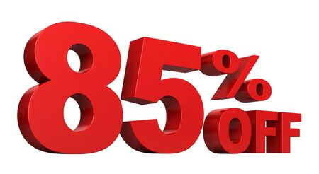 cost savings: 3d render of 85 percent off sale text isolated over white background Stock Photo