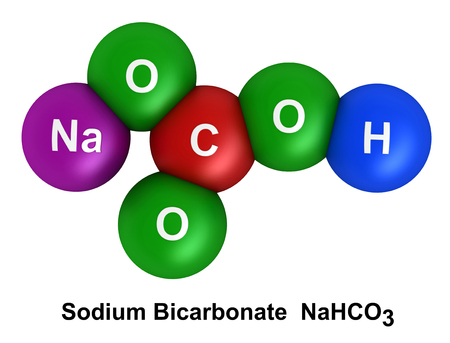 bicarbonate: 3d render of molecular structure of sodium bicarbonate isolated over white background Atoms are represented as spheres with color and chemical symbol coding: hydrogen(H) - blue, oxygen(O) - green, carbon(C) - red, sodium(Na) - violet Stock Photo