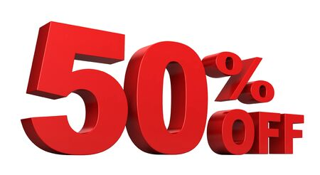 3d render of 50 percent off sale text isolated over white background Stock Photo